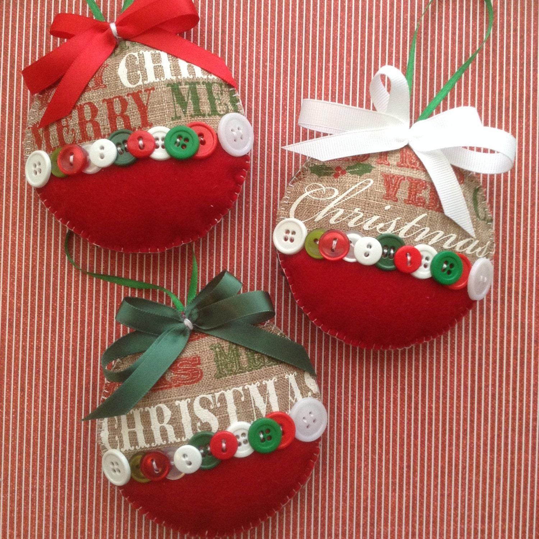 Christmas Burlap Ornaments / Xmas Fabric Ornaments By