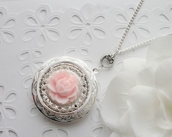 Pink Rose Locket Necklace, Soft Pink Rose Silver Locket Necklace, Floral Locket Necklace, Statement Photo Locket, Romantic, Gift for Her
