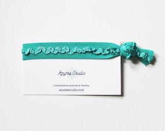 Turquoise Ruffles Hair Tie