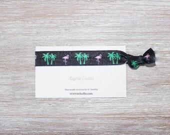 Flamingo Palm Tree Black Pink Green Hair Tie