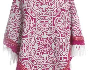 Vintage 1970's Pink Tapestry Wool Poncho - www.brickvintage.com