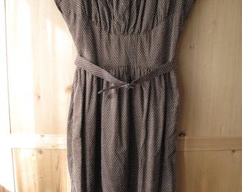 Brown Swiss Dot 1940s Reproduction Dress
