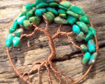 Tree of Life Copper Pendant, Turquoise, Tree of Life Necklace, tree of life Jewellery