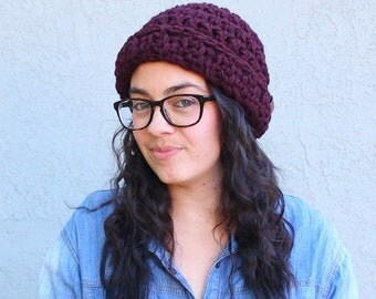 Everett // Handmade crochet knit thick chunky beanie // Claret