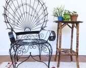 Vintage Iron Wire Peacock Chair, Mexican Patio Chair, Mid Century Bohemian Chair