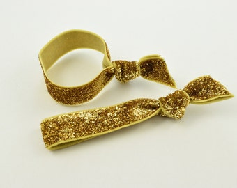 Gold Glitter Hair Ties Package. The Package of 2 Elastic Gold Glitter Hair Ties. Double as Bracelets. Luxury Ponytail Sparkle Bracelet