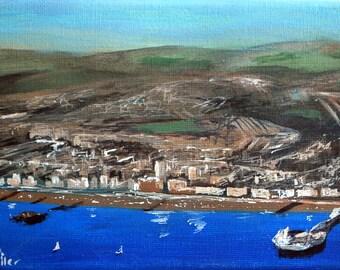 Aerial view, West pier, Palace pier, Brighton seafront painting, Original Art, Seaside Painting.