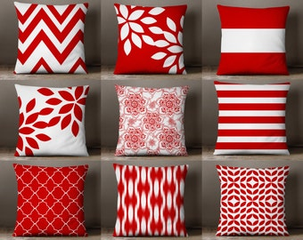 Throw Pillow Covers Red and White Pillow Covers Floral Pillow Covers Red White Decor Decorative Pillow Cover Accent Pillow Cover