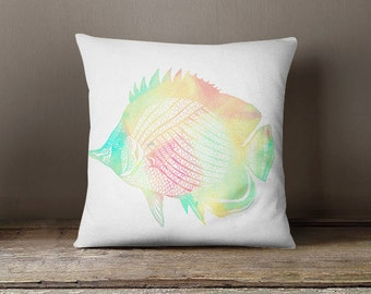 Fish Throw Pillow Cover Beach Decor Coastal Decor Fish Art Home Decor Gifts for Beach lover Couch Cushion Cover Decorative Pillow Cover