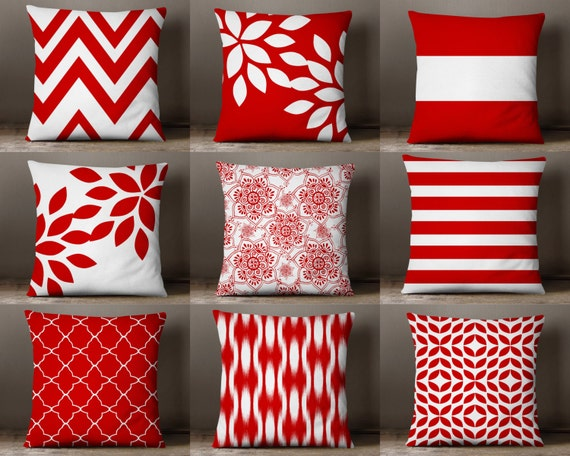 Throw Pillow Covers Red and White Pillow Covers Floral Pillow