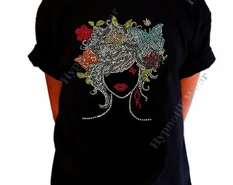 "Girls Rhinestone T-Shirt "" Colorful Girl with Butterflies ""in Size 3 to 14 Available, Butterfly"