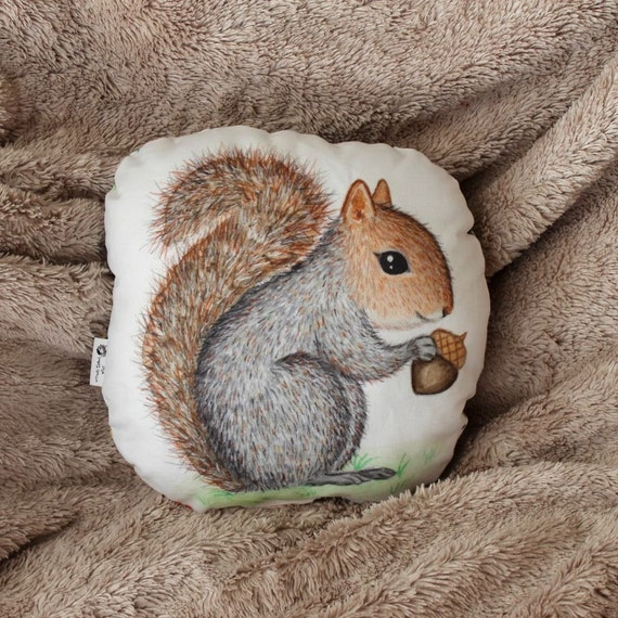 Squirrel pillow. Woodland nursery decor. Animal pillow. Kids