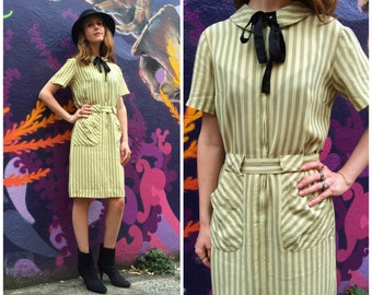 Shirt Dress 1970s Day Dress / Vintage Striped Short Sleeve Dress with Peter Pan Collar Small
