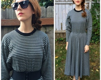 Sweater Dress 1980s Maxi Sweaterdress Houndstooth Dolman Sleeve Size Small S