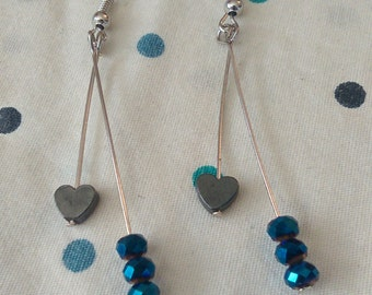 Blue Iridescent Crystal and Heart Dangle Earrings