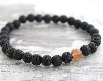 SLIM Sunstone Bracelet Father Gift Mens Bracelet Mens Gift Mens Beaded Bracelet Boyfriend Gift Son Gift