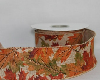 10 yards Rustic Fall Leaves Linen Wire Edge Ribbon - Ribbon for Wreaths, Fall Wreath Ribbon, Fall Ribbon