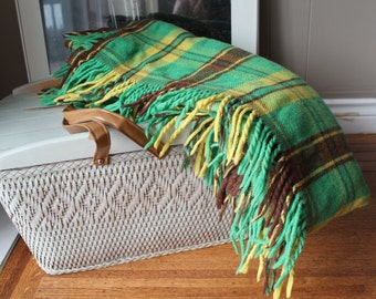 Mid Century Green Yellow and Brown Plaid Wool Blanket with fringe Tailgate blanket Car blanket Couch