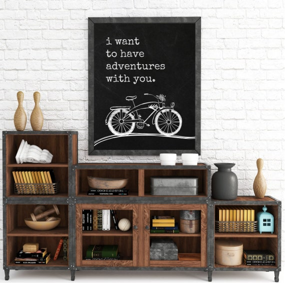 Typography Art Print, Home Wall Art, Home Decor, I Want To Have Adventures With You, New House, Apartment Decor, Gifts For Him, Bicycle Art