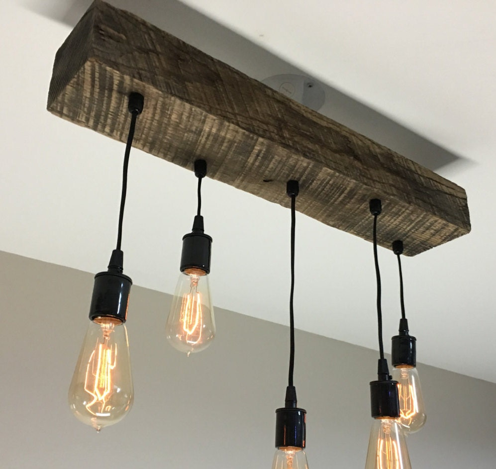 Reclaimed barn timber beam light fixture with by