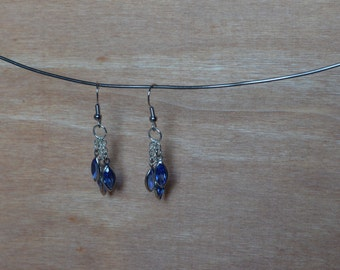 Swarovski Jeweled Dangle Earrings in Sapphire
