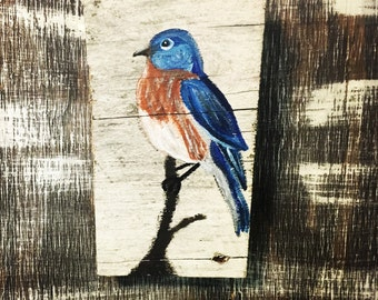 Eastern Bluebird- Bluebird Painting- Bluebird Decor- Bluebird- Acrylic Bluebird Painting- Bird Home Decor- Bird Art- Acrylic Bird Painting