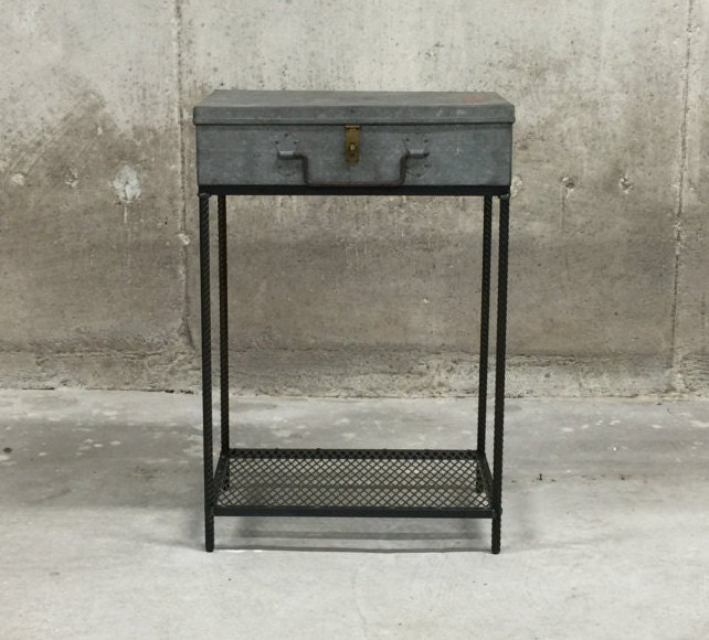 end table vintage hinged galvanized metal case with rebar legs