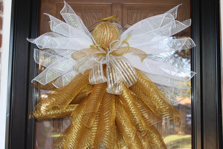 deco mesh christmas wreath angel mesh wreath angel wreath. Black Bedroom Furniture Sets. Home Design Ideas