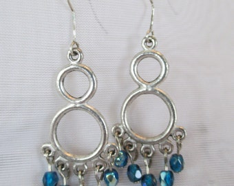 Silver Hoops and Blue Faceted Beads