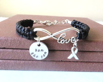 Melanoma Skin Cancer LOVE Ban the Tan Black Awareness Charm Bracelet