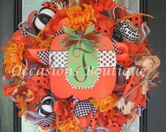 Fall Wreath, Fall Door Hanger, Fall Decoration, Front door wreath, Wreath for Door, Pumpkin decoration, Deco Mesh Wreath