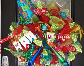 Happy Birthday Wreath, Birthday Party Decoration, Personalized Birthday Gift, Wreath for Door, Front door Wreaths, Made to Order