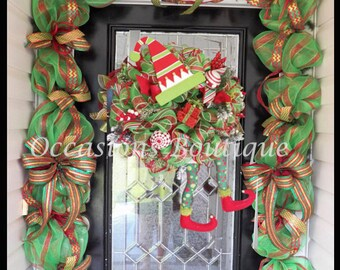 Pre-Order, Christmas Elf Wreath with Matching Garland, Elf Wreath, Christmas Garland, Holiday Wreaths