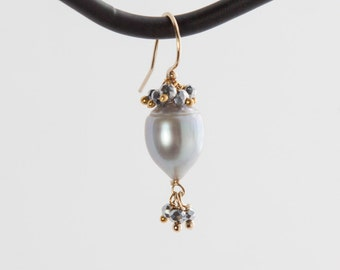 Platinum Freshwater Pearl and Pyrite Earrings in 14kt Gold-fill
