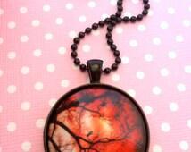 Creepy Twisted Branches Pendant / Autumn Tree Necklace / Scary Horror Tree / Dead Winter Tree / Halloween Tree / Orange Sky Jewelry
