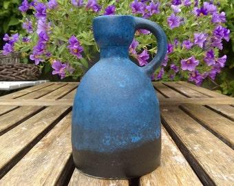Ruscha Keramik, Handled Vase, Nr 312, Blue and Black, West German Pottery, 1960s