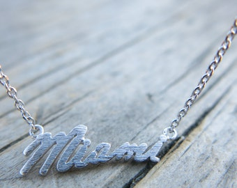 Miami State Necklace, Dainty Necklace, Simple Necklace, Everyday Necklace, Bridesmaids Necklace