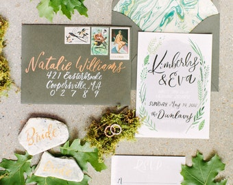 Two Tone Envelope Calligraphy, Hand Addressed Envelopes, Brush Wedding Calligraphy, Copper Envelope Addressing, Hand Written Addresses