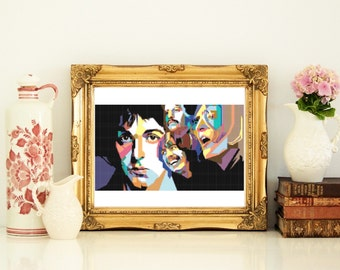 Beatles cross stitch pattern ~ digital download ~ gift for him, diy for him, uncle, mum, funky home decor for music lover, groom, wall art