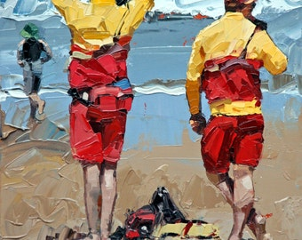 Canvas print, of my, original artwork, impressionist, oil painting, 'Two Lifeguards', colorful artwork, beach art, beach house decor