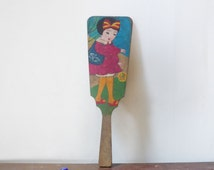 """VINTAGE 1940's , Wooden Paddle , Traditional Japanese Toy """" Hagoita """", Hand Painted , Pretty Girl playing Temari Motif , For """" Hanetsuki """""""