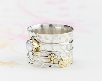 Boho Rings, Pearl Rings, Flower Rings, Statement Rings, Birthstone Rings, Thumb Rings, Boho Jewelry, Silver Rings, Gifts For Her JR121