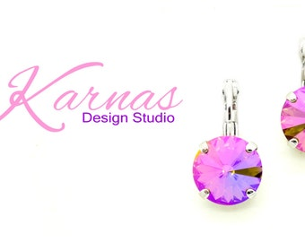 PURPLE HAZE 12mm Crystal Rivoli Drop Leverback Earrings Made With Swarovski Elements *Pick Your Finish *Karnas Design Studio *Free Shipping