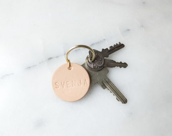 Key chain with name | Cowhide leather