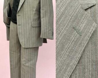 Men's Vintage 60s Hodges Silver Grey 2 piece Suit 42R