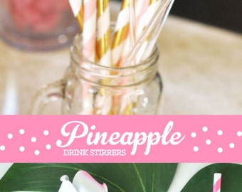 Pineapple Drink Stirrers Gold Pineapple Decor Drink Stirs Hawaiian Tropical Party Decor Drink Stirrers (EB3126) set of 25