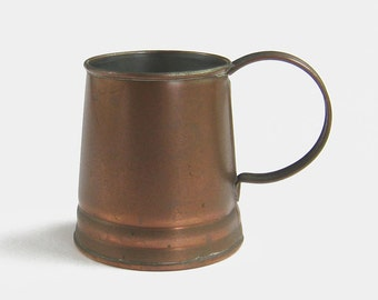 Vintage Solid Copper Beer Tankard by Trevor Rogers-Davis - 1987 1980s stein ale man cave pub bronze gold trophy antique English Edwardian