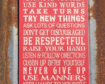 Classroom Rules -Handmade Wood Sign