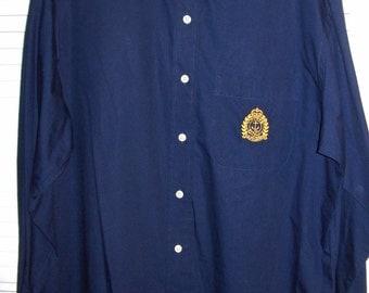 Vintage Lauren Ralph Lauren Long-sleeved Midnight Blue Cotton Shirt Size 16