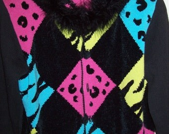 Sweater Medium, Vintage Jack B Quick Harlequin Hot Pink and Turquoise Fun Lively Sweater Size M